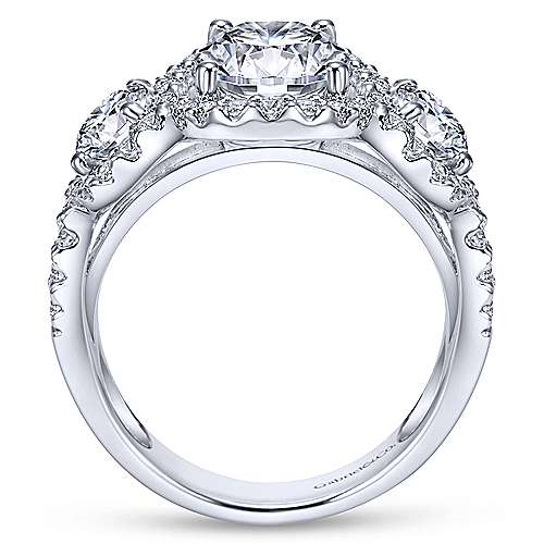 14k White Gold Diamond 3 Stones Halo Engagement Ring angle 2
