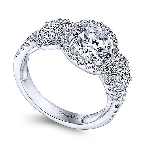 14k White Gold Diamond 3 Stones Halo Engagement Ring angle 3