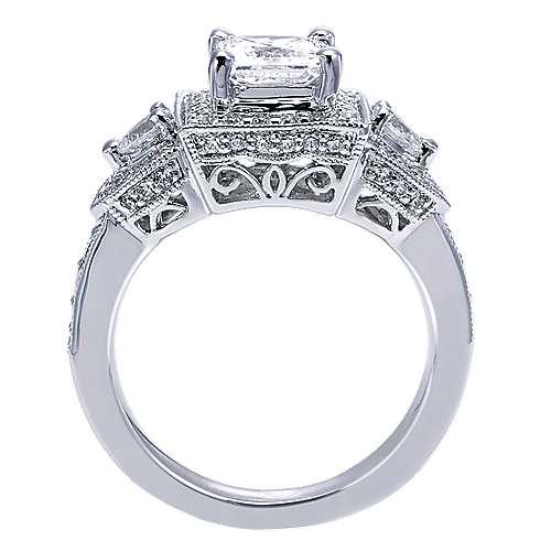 14k White Gold Diamond 3 Stones Halo Engagement Ring angle 2