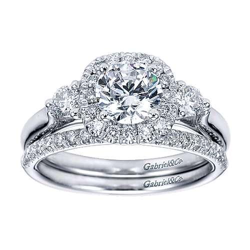 14k White Gold Diamond 3 Stones Halo Engagement Ring angle 4