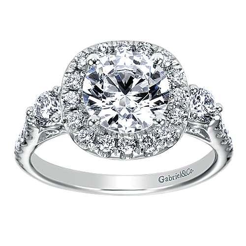 14k White Gold Diamond 3 Stones Halo Engagement Ring angle 5