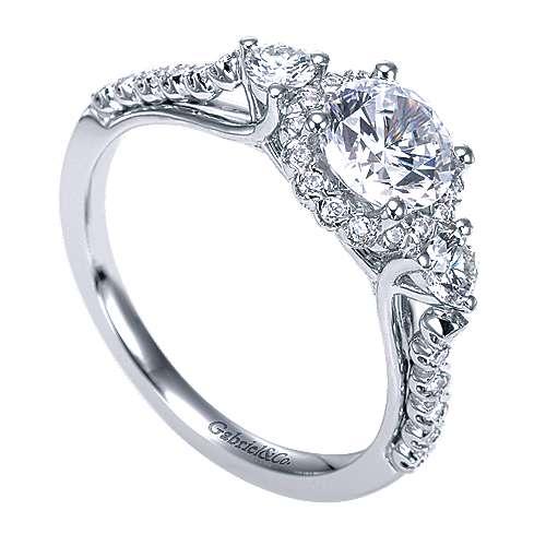 14k White Gold Diamond 3 Stones Halo Engagement Ring angle 3