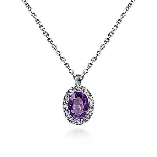 14k White Gold Diamond Amethyst Fashion Necklace angle 1