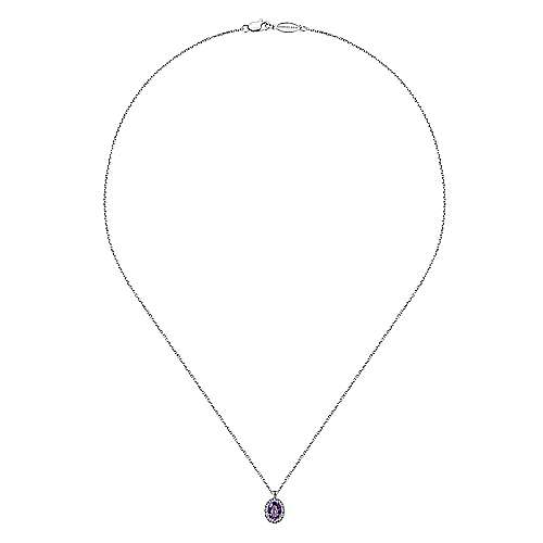 14k White Gold Diamond Amethyst Fashion Necklace angle 2