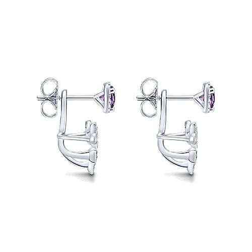 14k White Gold Diamond Amethyst Peek A Boo Earrings angle 3