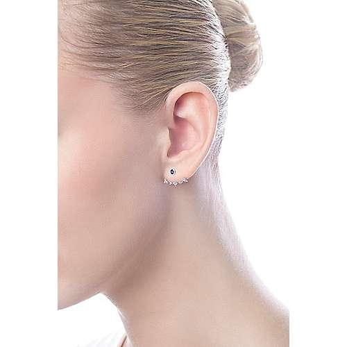 14k White Gold Diamond Amethyst Peek A Boo Earrings angle 4