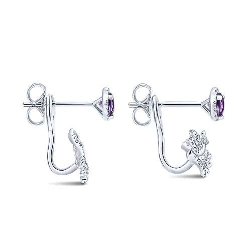 14k White Gold Diamond Amethyst Peek A Boo Earrings angle 3