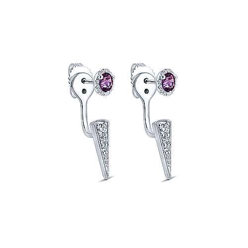 14k White Gold Diamond Amethyst Peek A Boo Earrings angle 2