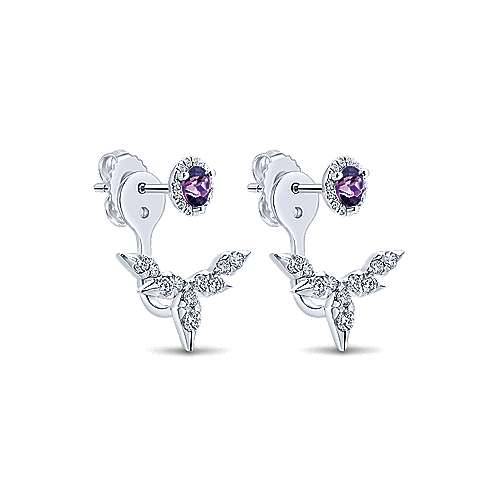 14k White Gold Diamond Amethyst Peek A Boo Earrings angle 2