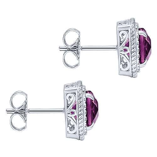 14k White Gold Diamond Amethyst Stud Earrings angle 3