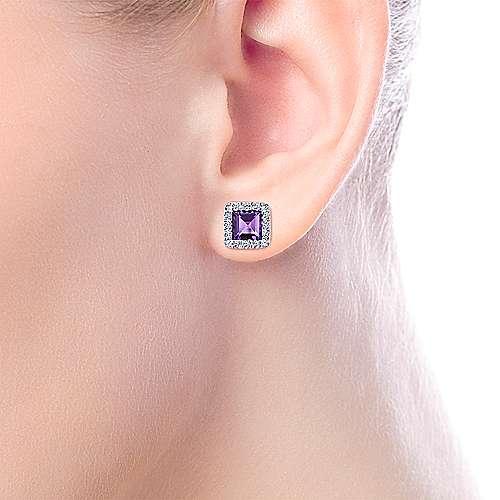 14k White Gold Diamond Amethyst Stud Earrings angle 2