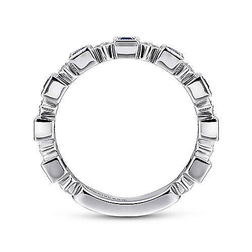 14k White Gold Diamond And Alternating Sapphire Ladies Ring angle 2