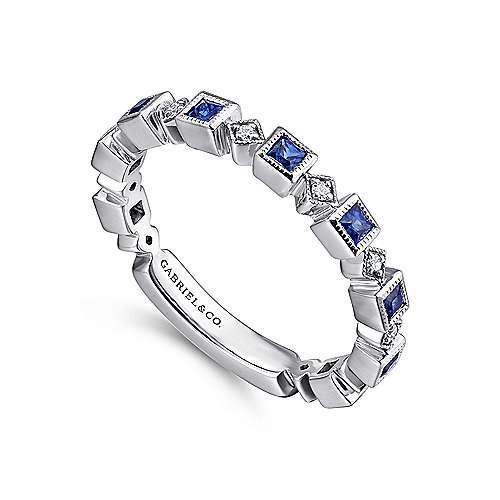 14k White Gold Diamond And Alternating Sapphire Ladies Ring angle 3