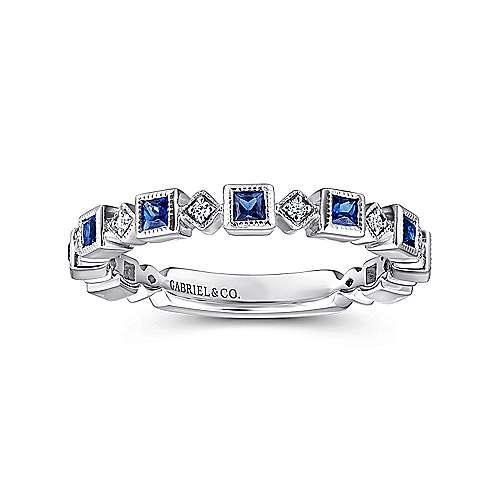 14k White Gold Diamond And Alternating Sapphire Ladies Ring angle 4