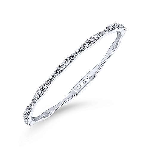 14k White Gold Diamond Bangle angle 2