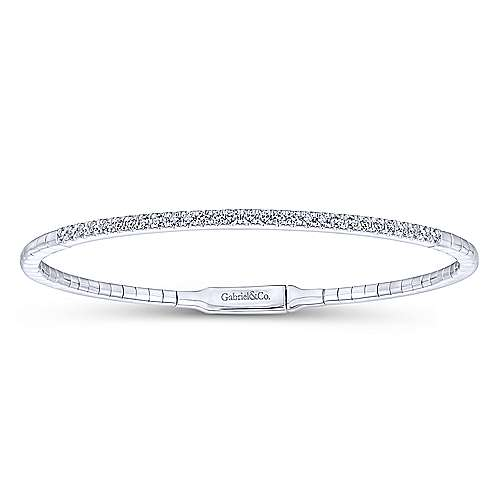 14k White Gold Diamond Bangle angle 1