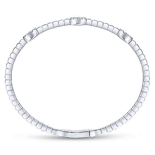 14k White Gold Diamond Bangle angle 3
