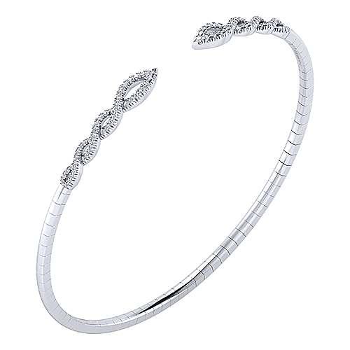 14k White Gold Diamond Bangle angle 2