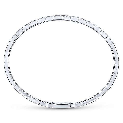 14k White Gold Diamond Bangle angle 3