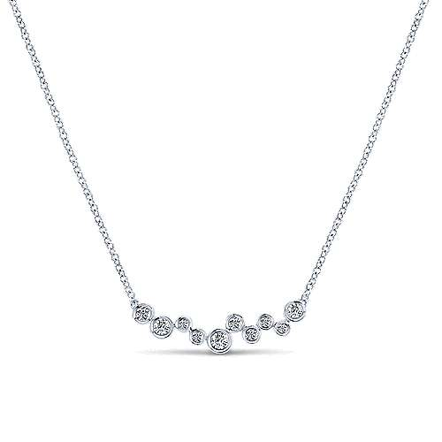 14k White Gold Diamond Bar