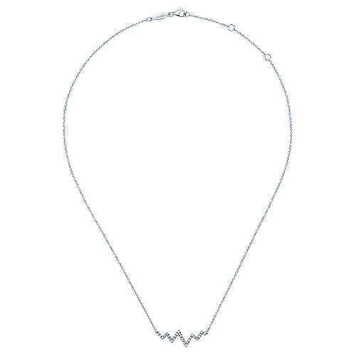 14k White Gold Diamond Bar Necklace angle 2