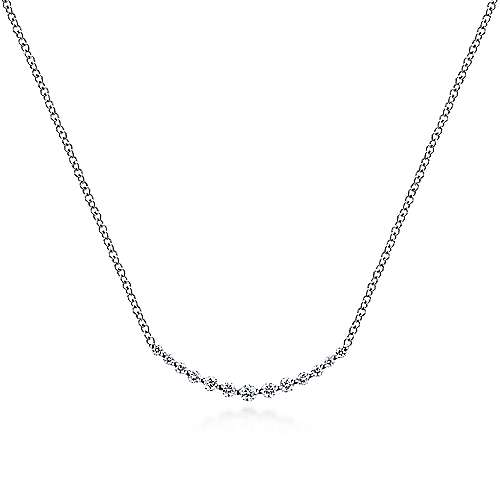 14k White Gold Diamond Bar Necklace angle 1