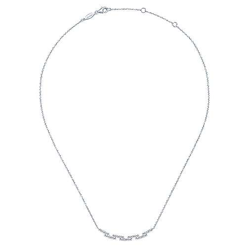 14k White Gold Diamond Bar Necklace angle 2