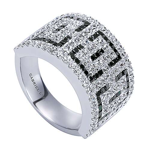 14k White Gold Diamond Black Diamond Fashion Ladies