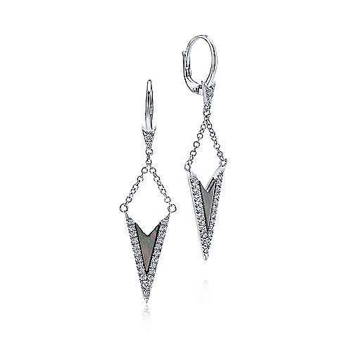 Gabriel - 14k White Gold Kaslique Drop Earrings