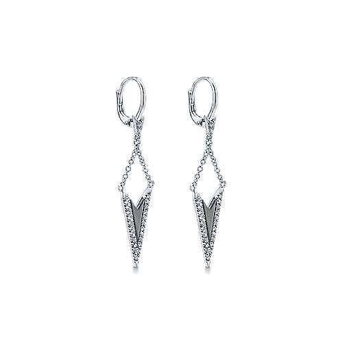 14k White Gold Diamond Black Mother Of Pearl Drop Earrings angle 2