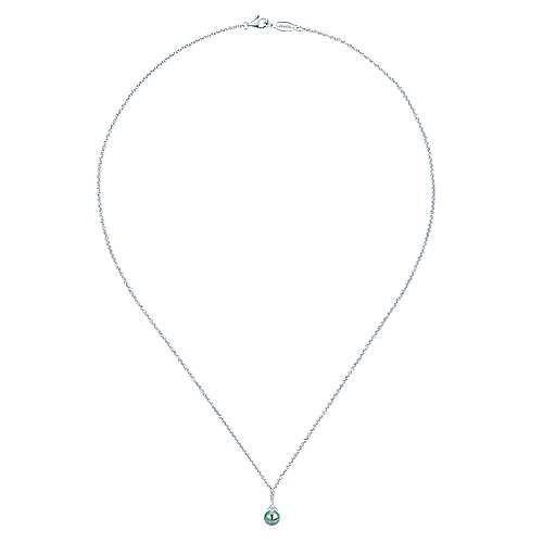 14k White Gold Diamond Black Pearl Fashion Necklace angle 2