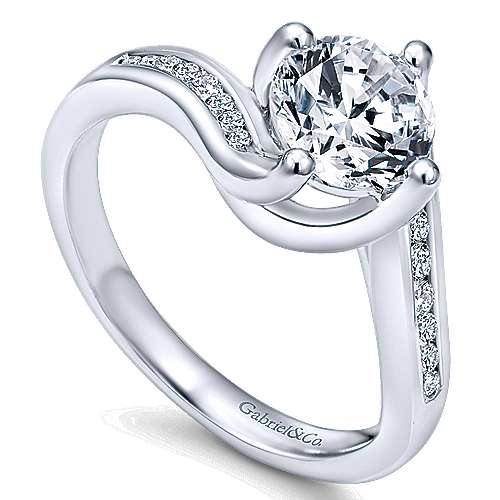 14k White Gold Diamond Bypass Engagement Ring angle 3