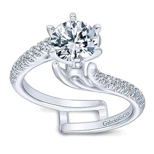 14k White Gold Diamond Bypass Engagement Ring angle 5