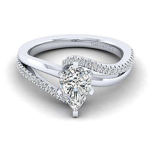 14k White Gold Diamond Bypass Engagement Ring angle 1