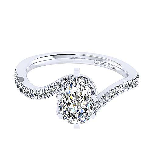 Gabriel - 14k White Gold Pear Shape Bypass Engagement Ring