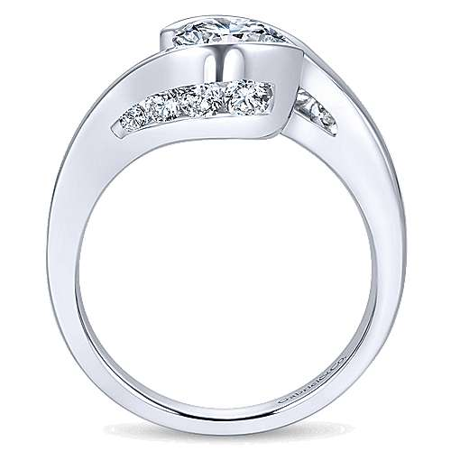 14k White Gold Diamond Bypass Engagement Ring angle 2