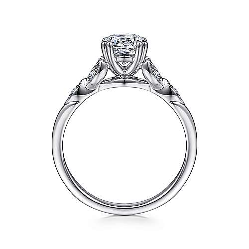 14k White Gold Diamond Cathedral Setting Straight Shank Engagement Ring angle 2