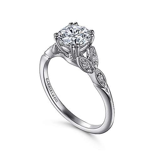 14k White Gold Diamond Cathedral Setting Straight Shank Engagement Ring angle 3