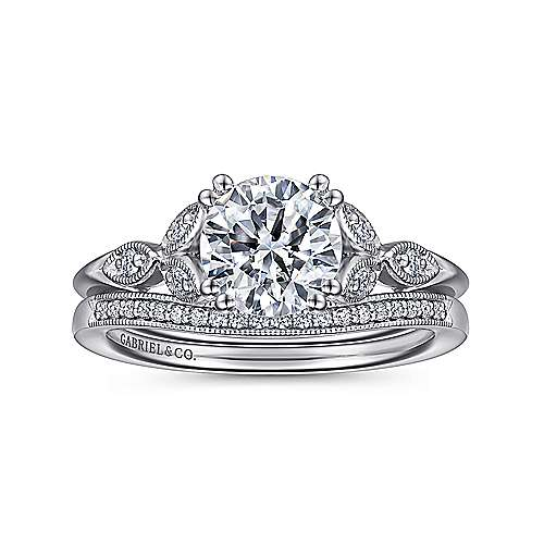14k White Gold Diamond Cathedral Setting Straight Shank Engagement Ring angle 4