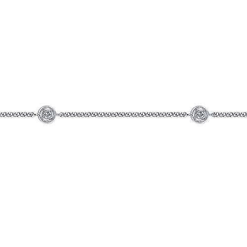 14k White Gold Diamond Chain Ankle Bracelet angle 2