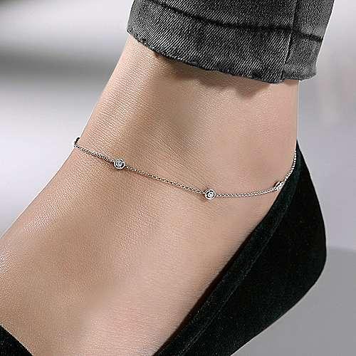 14k White Gold Diamond Chain Ankle Bracelet angle 3