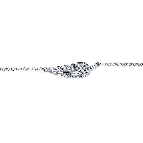 14k White Gold Diamond Chain Bracelet angle 2