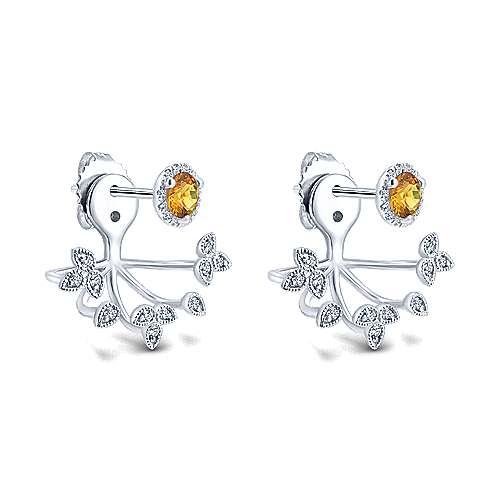14k White Gold Diamond Citrine Peek A Boo Earrings angle 2