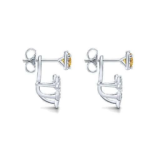 14k White Gold Diamond Citrine Peek A Boo Earrings angle 3