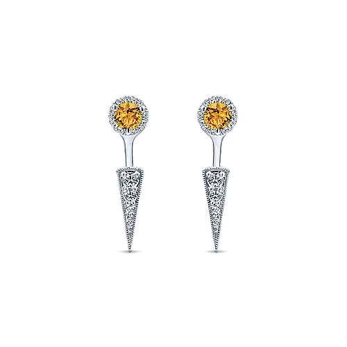 Gabriel - 14k White Gold Gemini Earrings Peek A Boo Earrings