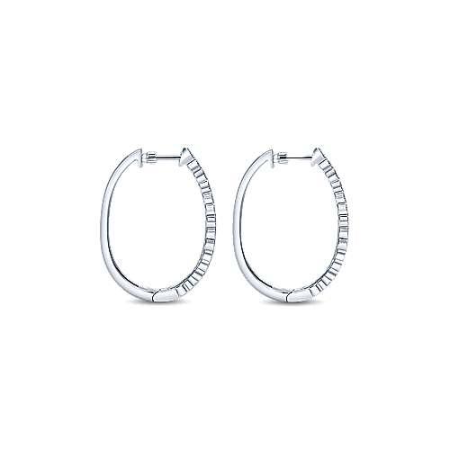 14k White Gold Diamond Classic Hoop Earrings angle 2