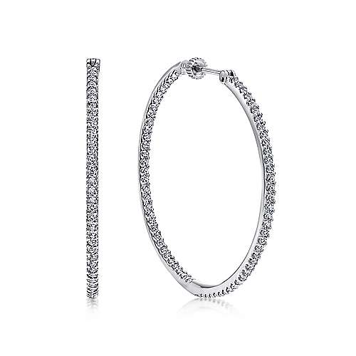 Gabriel - 14k White Gold Hoops Classic Hoop Earrings