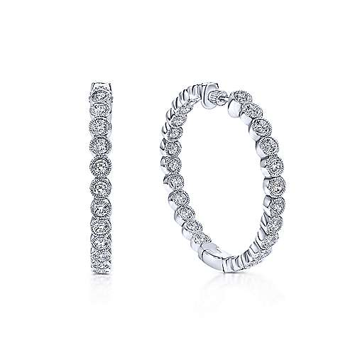 14k White Gold Diamond Classic Hoop