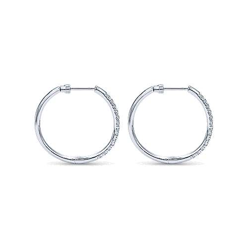 14k White Gold Diamond Classic Hoop Earrings angle 2