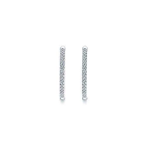 14k White Gold Diamond Classic Hoop Earrings angle 3